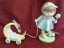 Seasons of Cannon Falls Spring Easter Girl pulling Little Bunny Yellow Carraige