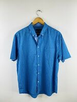 Duchamp Men's Short Sleeve Button Up Collared Shirt Size 2XL Blue Check