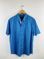 Duchamp Men's Short Sleeve Button Up Collared Shirt Size 2XL Blue Check