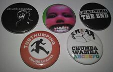 5 Chumbawamba badges 25mm punk Tubthumping The End ABCDEFG