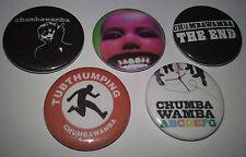 5 Chumbawamba badges 25mm punk Tubthumping The End ABCDEFG