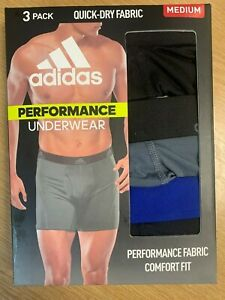 Adidas Men's Performance Boxer Briefs 3-pack - BLACK/GRAY/BLUE Size M 32-34W