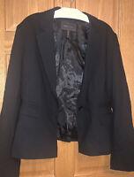 👠💼 BCBG MaxAzria Blazer SingleButton Jacket Wool Solid Black Career Office L