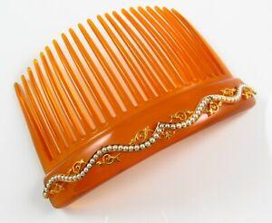 14K Gold Victorian Art Nouveau Faux Tortoise Shell Pearl & Ivy Motif Hair Comb