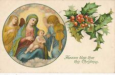 POSTCARD   GREETINGS    Christmas  Heaven  Bless  Thee