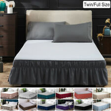 "16"" Drop Bed Skirt Dust Ruffle Easy Fit Wrap Around Bed Twin Full Size 13 Colors"