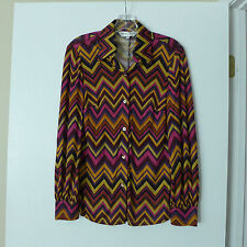 Trina Turk Los Angeles 100% Silk Chevron Zig Zag Print Button Down Shirt Size S