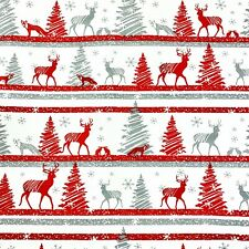 989. Christmas Trees and Deers 100% Cotton Fabric.