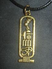 New 35MM Gold Egypt Egyptian Eye Horus Nefertiti Cartouche Pendant Necklace