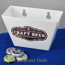 White CRAFT BEER Metal Cap Catcher for Wall Mount Bottle Openers STARR New!!