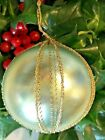 Vintage WIRE WRAPPED Blown Frosted Glass LIGHT TEAL AQUA Christmas Ornament