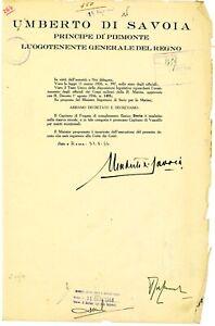 Manoscritto Re Umberto di Savoia (1904-1983) con autografo originale