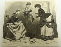 1878 magazine engraving ~ WOMAN CAUGHT SMUGGLING DIAMONDS IN HER STOCKINGS