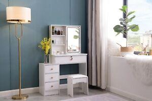 Dressing Table Stool Bedroom Vanity Set Makeup Desk W/ Mirror & 4 Drawer White