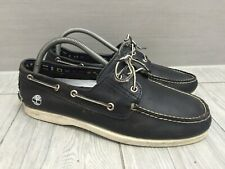MENS VERY DARK NAVY LEATHER TIMBERLAND BOAT DECK SHOES, UK 9