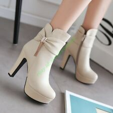 Chic Women Stiletto High heel Shoes Ankle Boots Sweet Bow Platform Classic Shoes