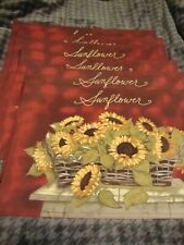SUNFLOWER Burgundy Lot (6) Red Fabric Linen Placemats Decor  ~All Occasions  254