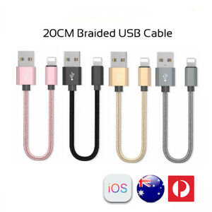 20CM Short Braided USB Cable Fast Charging Cord for iPhone XS 8 7 6 Plus 5
