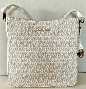 Michael Kors Jet Set Travel Vanilla PVC MK Signature Large Messenger Bag Handbag