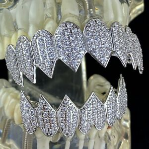 Shark Grillz 8 Top & Eight Bottom Teeth Set Silver Tone Iced Micro Pave Grills