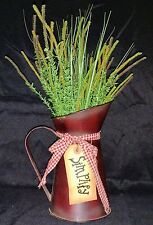 Primitive Rustic Tin Water Pitcher With Faux Greenery-Country Decor