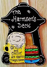 DECK Personalize Name BBQ GRILL Beer Mug SIGN Decor Patio Backyard Porch Plaque