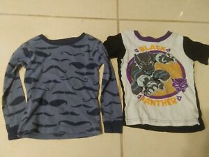 Lot Boys 4T Pajama Shirts (2) Black Panther Moustache Kids Toddler Clothes