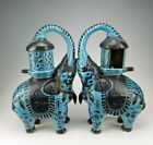 Pair of China Antiques Peacock Green Glazed Porcelain Elephant shaped Oil Lamps