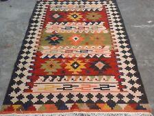 Handmade Vintage Afghan Tribal Maimana Persian Large Area Kilim Rug 5x8 ft