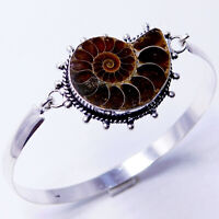 Ammonite Fossil 925 Sterling Silver Plated Handmade Jewellery Bangle 17 Gm