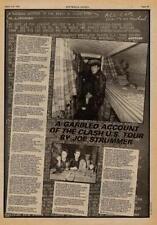 Clash Strummer UK Article (US Tour account) 1979