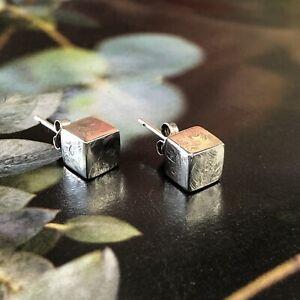 Vintage 925 Solid Sterling Silver Cube Earrings Studs Minimal Modernist Engraved