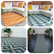 Bold Orange Tribal Indoor Outdoor Patterned Garden Rug Patio Blue Plastic Mats