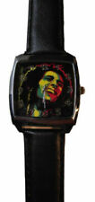 Bob Marley Square Face Black Leather Band Wrist Watch