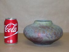 Signed Folse Studio Raku Art Pottery Vase. Snake Skin Etched Design. Signed NR