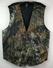 Mossy Oak Mens Camo Print Vest Size Xl Adjustable Back Button Front V Neck Lined