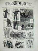 Original Old Antique Print 1884 War Ship Sailors Navy Washing Deck Music Guitar