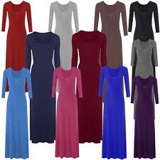 New Womens Plus Size Plain Long Jersey Scoop Neck Maxi Dress 8-26