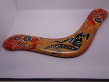"AUSTRALIAN BOOMERANG SIGNED 12"" DECORATED BY AUSTRALIAN ABORIGINALS"