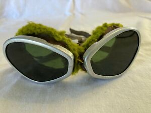 Vintage Green Tinted Motorcycle Safety Steampunk Goggles