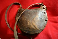Vintage Black Leather Powder Bag Handmade With Shoulder Strap - Hunting