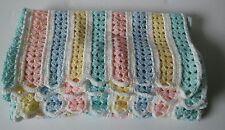 NEW Handmade Crochet Baby Blanket Afghan ( green, yellow, blue pink) 36 1/2 x 30