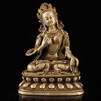 Buddhism temple Old tibet Silver gilt carve white tara Bodhisattva statue buddha