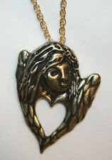 Wistful Openwork Brasstoned Sculpted Muse Angel Fairy Heart Necklace