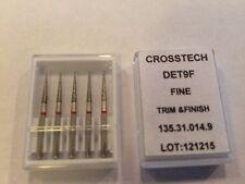 Crosstech High Speed Diamond Dental Bur Fine Trim & Finish DET9F 135-014 5pk