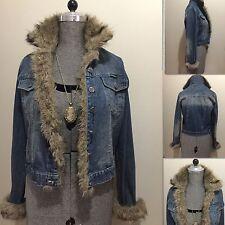 Lady's Blue Jeans Denim Large Size Jacket With Detailed Rich Fur (Candy Rocket)