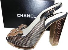 CHANEL Black Gold Lace Camelia Slingback Heel Sandals Pump Shoe 38/  7-7.5