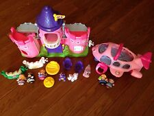 GIRL Little People Fisher Price Lil Kingdom Castle Lights Sounds + Airplane PINK