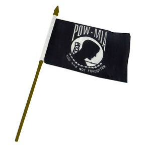 "POW MIA POWMIA Prisoner of War Flag 4""x6"" Desk Table Gold Staff"