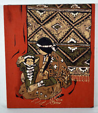 "Vintage 3D 14"" Cloth Wall Art Print Indian Mother With Papoose Child"
